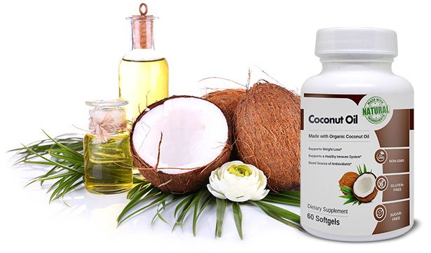 organic coconut oil with bottle of coconut supplements
